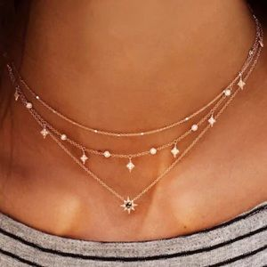 Gold necklace, layered, black gems moon and stars